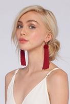 Vanessa Mooney Astrid Knotted Tassel Earrings in Burgundy