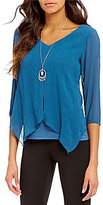 I.N. Studio V-Neck Solid Top with Removable Necklace