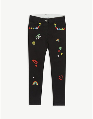 Stella McCartney Heart-embroidered skinny jeans 4-16 years