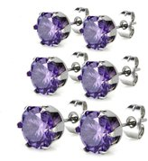 Charisma Hypoallergenic Stainless Steel Round Cubic Zirconia Stud Earrings Set of 3 Pairs for Women Girls, Amethyst Color