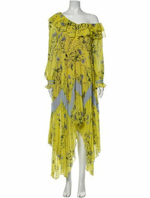 Self-Portrait Floral Print Long Dress Yellow