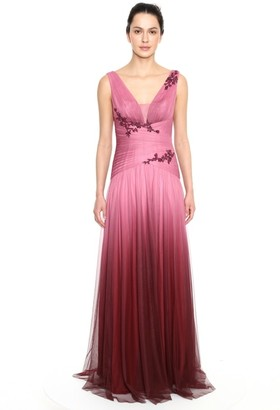 Marchesa Notte Sleeveless Draped Ombre Tulle Gown