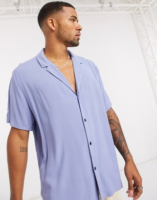 ASOS DESIGN relaxed fit viscose shirt with low revere collar in lilac