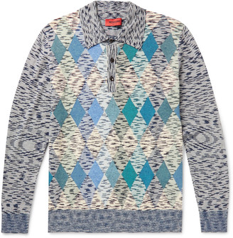 Missoni Slim-Fit Intarsia Space-Dyed Cotton And Linen-Blend Polo Shirt