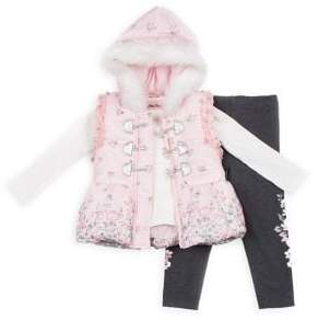Little Lass Little Girl's 3-Piece Faux Fur-Trim Hooded Floral Puffer Vest, Ribbed Top & Leggings Set