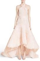 Marchesa Women's Draped Bodice Crepe Halter Gown