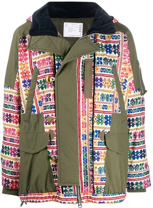 Sacai Embroidered Parka Coat