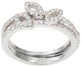 Journee Collection 7/8 CT. T.W. Round Cut CZ Pave Set Leaf Ring in Brass - Silver