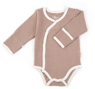 Tadpoles Organic Cotton Pinstripe Kimono Onesie, 6-12 Months
