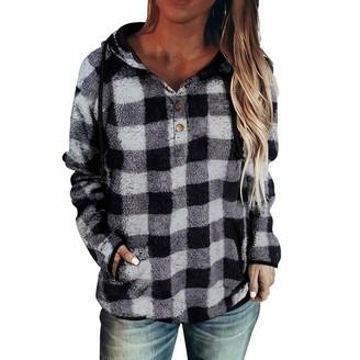 Jiegorge Women's Blouse Women's Casual Fashion Camouflage Plaid Printed Pocket Long Sleeve Hoodie