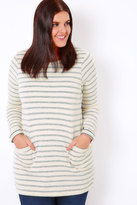 Yours Clothing Cream & Blue Stripe Pocket Front Tunic Jumper