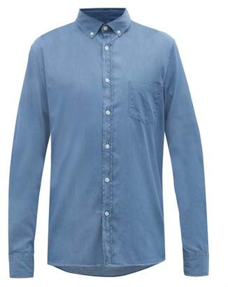 Sunspel Patch-pocket Cotton-twill Shirt - Mens - Blue