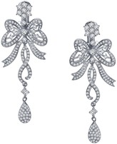 Lafonn Platinum Over Sterling Silver Simulated Diamond Micro Pave Bow-Knot Chandelier Earrings