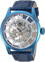 Adee Kaye Men's 'Glass Collection' Mechanical Hand Wind Stainless Steel and Leather Casual Watch, Color:Blue (Model: AK2296-MIPBU)