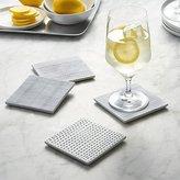 Crate & Barrel Set of 4 Linea Tile Coasters