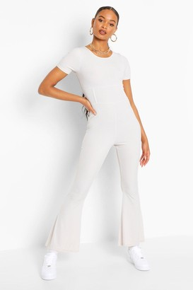boohoo Ribbed Corset Seam Detail Flared Leg Jumpsuit