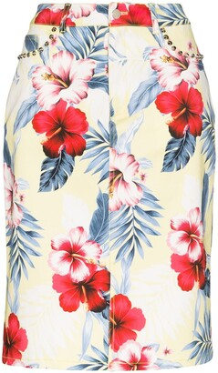 Les Rêveries Floral Print Pencil Skirt