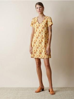 Indi & Cold - Gold Floral V Neck Dress - medium