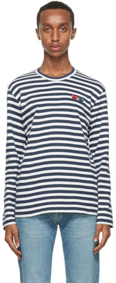 Comme des Garcons Navy Stripe Double Heart Long Sleeve T-Shirt