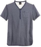 Armani Exchange Men's Short Sleeve Henley Shirt with Logo Pocket
