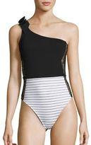 Fleur Du Mal One-Piece Striped Lace Insert One-Shoulder Swimsuit