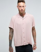 Asos Regular Fit Shirt In Dusty Pink With Revere Collar