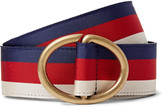 Gucci 3.5cm Leather-Trimmed Striped Webbing Belt