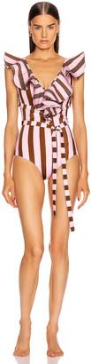 Johanna Ortiz Bahia Solano One Piece Swimsuit in Coco De Mer & Blush | FWRD