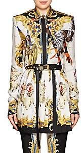 Versace Women's Graphic Silk Crop Blouse - White