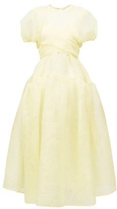 Cecilie Bahnsen Anna Wrap-front Pintucked Organza Midi Dress - Yellow