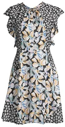 Rebecca Taylor Mixed Flower Fit-&-Flare Dress