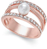 Charter Club Rose Gold-Tone Imitation Pearl and Pavé Statement Ring, Only at Macy's