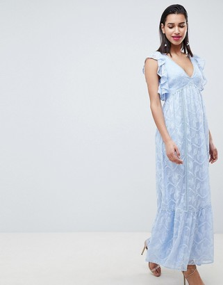 Forever New Embroidered Maxi Dress with Ruffle Detail-Blue