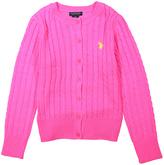 U.S. Polo Assn. Neon Pink Button-Up Cardigan - Girls
