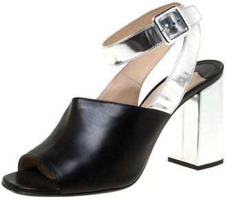 Prada Black/Silver Leather Ankle Strap Square Toe Ankle Strap Sandals Size 38