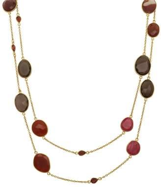 Carousel Jewels Smoky Quartz Red Onyx Garnet & Ruby Corundum Necklace