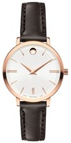 Movado Women's Ultra Slim Leather Strap Watch, 28Mm