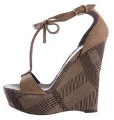 Burberry T-Strap Bow-Accented Wedge Sandals