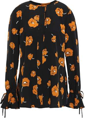 Derek Lam 10 Crosby Tie-detailed Floral-print Crepe De Chine Blouse