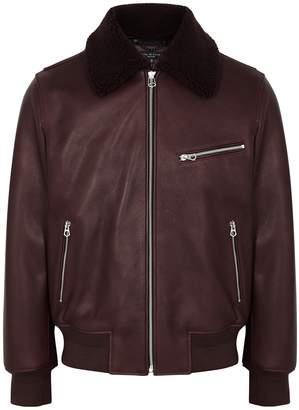 Rag & Bone Burgundy Leather Bomber Jacket