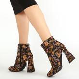 Public Desire Lidia Contrast Perspex Heel Ankle Boots Print