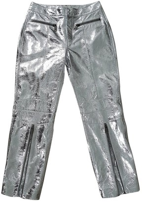 John Galliano Silver Leather Trousers for Women