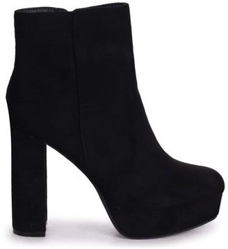 Linzi SAINT - Black Suede Platform Heeled Ankle Boots