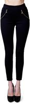 Black Zippered Ankle Leggings
