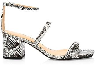 Alexandre Birman Lally Ankle-Strap Snakeskin-Embossed Leather Sandals