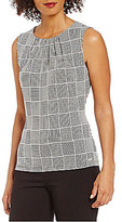 Calvin Klein Pleat Neck Windowpane Plaid Print Matte Jersey Shell
