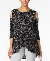 Alfani Petite Printed Cold-Shoulder Top, Only at Macy's