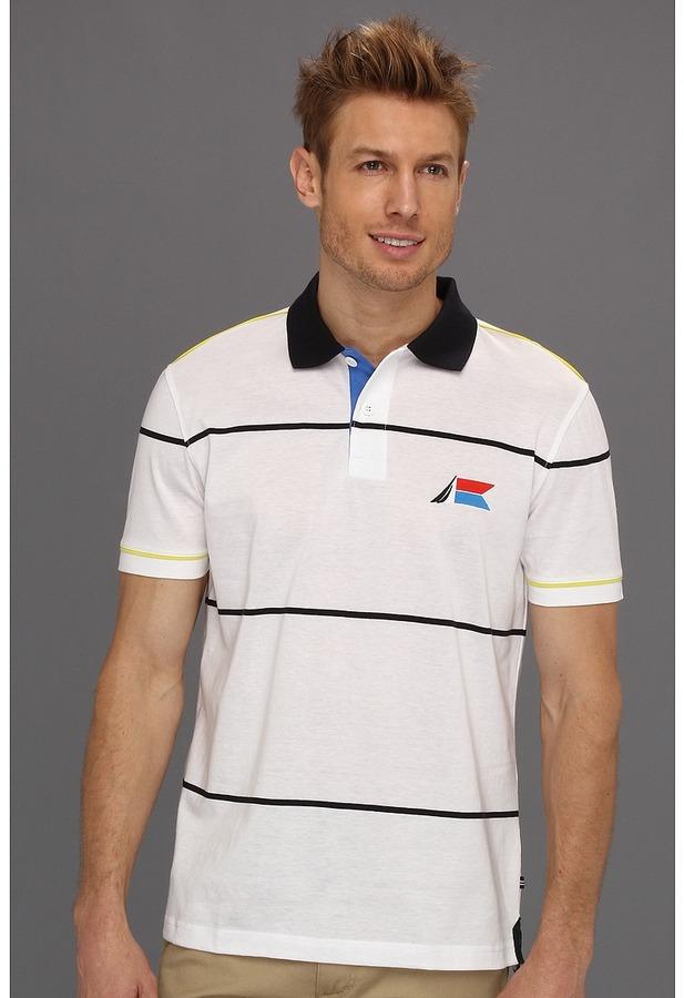 Nautica Regatta Series S/S Wide Stripe Polo (Bright White) - Apparel