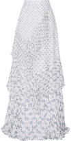 Peter Pilotto Tiered Printed Silk-georgette Maxi Skirt - White