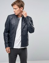 Goosecraft Leather Biker Jacket Quilt Shoulder In Navy